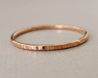One Rose Gold Ring thin gold ring textured stacking ring thumb ring thin gold ring choose your size