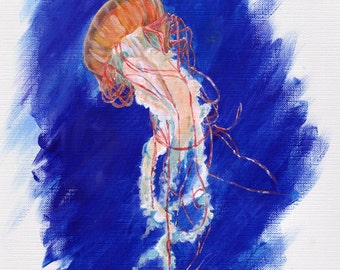Jellyfish - 8x10 PRINT of an acrylic painting by Ela Steel archival print - jelly fish sea creature ocean blue beach house art