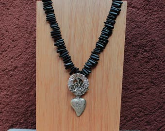Mexican Milagro necklace with silver Sacred Heart and black quartz beads