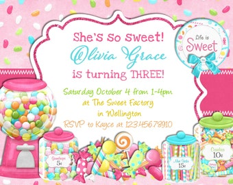 candy sweet shop invitation candyland birthday printable invite