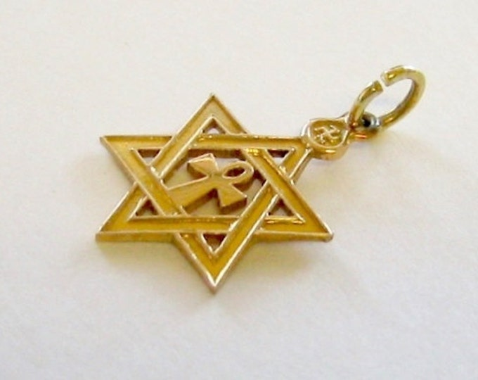14K Yellow Gold,  Unisex….Star of David Charm or Pendent.