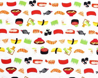 Japanese Fabric Cosmo sushi food - beige - 50cm