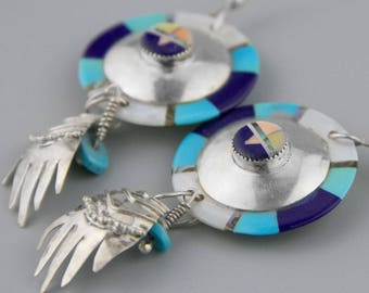BIG Zuni Statement Earrings, Turquoise , Lapis, Mother of Pearl, Native American Jewelry, Sterling Silver, Gift for Her, Zuni Inlay