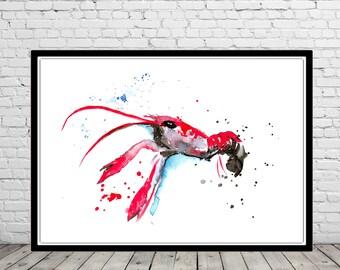 Crawfish, watercolor Crawfish, Crawfish print, Crawfish art, Crawfish art print, home decor, ocean art,  sea art