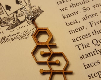 Laser Cut Testosterone Molecule Necklace - Chemistry Necklace - Nerdy Gift for Her