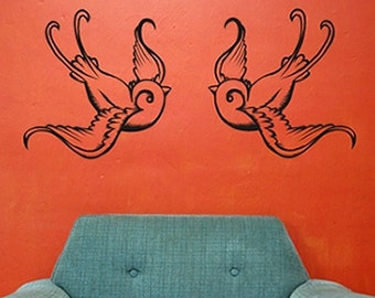 tattoo swallow wall decals, traditional tattoo swallows, vinyl art, FREE SHIPPING