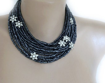 Multi Strand Layered Necklace with Tiny Crystal Brooches