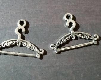 10 charms hanger / coat rack, in silver, 24 x 17 mm, set of 10