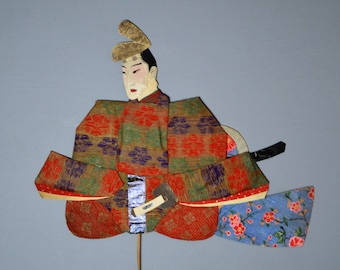 1800's Antique Oshie Japanese Silk Kimono Doll Seated Samurai Oshi-e Okiage Ningyo 10