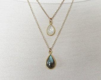 Moonstone and Labradorite Necklace, Double Strand Necklace, Layered Necklace, June Birthstone, Gold Filled Necklace Set, Bezel Set Jewelry