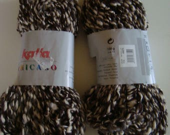 Yarn skein 100 g of wool from KATIA CHICAGO for scarf or ruffles - color Ecru, Brown - needles 3.5