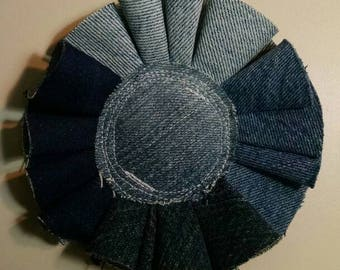 Amazing Large Recycled Denim Brooch- Flower Made from upcycled jeans- Eco-friendly Corsage- Pin to anything!