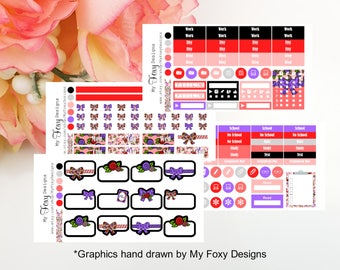Roses are Red Kit Add ons, Planner Stickers  [00446]