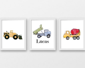 Construction Trucks Boys Room/ Nursery Decor/ Custom Name Dump Truck/DIGITAL DOWNLOAD/Printable Nursery Art/Personalized Nursery Art/Trucks