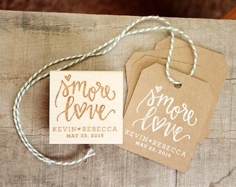 S'more Love Stamp, S'mores Wedding Favor Stamp for S'more Favor Tags, S'more Gift Bags, Camping Wedding Favor, Custom Rubber Stamp