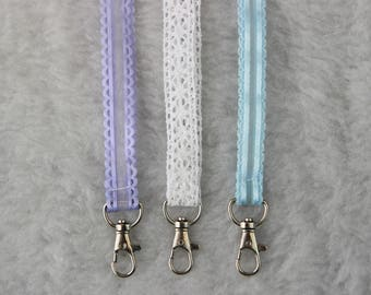 Lace Lanyard in Purple, Blue, or White