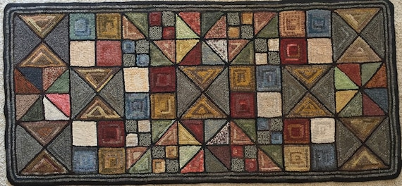 "Rug Hooking Pattern, ""Scrappy Geo II"" 24""x 52"" on linen, P114"