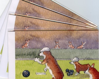 4 x Welsh Corgi dog greeting cards - an afternoon on the bowling green lawn bowls sport leisure jack kitty pitch game target competition