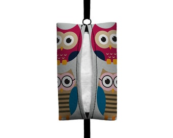 Auto Sneeze - Owls - Visor Tissue Case/Cozy - Car Accessory Automobile - Pink Grey