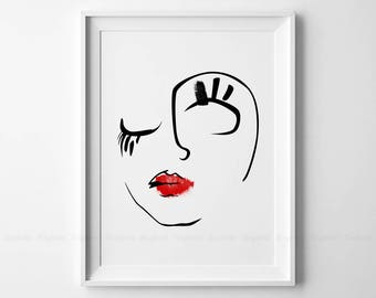 Line Drawing Face Woman : Elegant one line face art woman fashion sketch