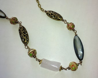 Rose Quartz, Shell and Cloisonne Brass Necklace
