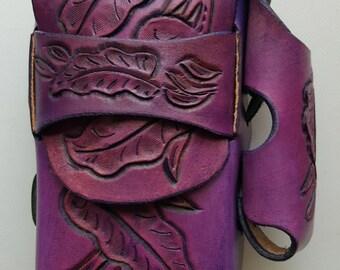 Hand Tooled Leather Cigarette Case w/Lighter Holder  LF Flower