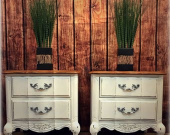 French Provincial White Nightstands End Tables Side Tables Cabinets