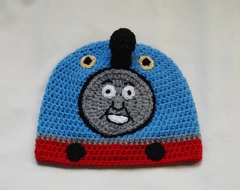 Crochet Train Hat Pattern. Sizes: 6-12, 12-24 months, 3-5 years, 6-10 years. - PATTERN ONLY