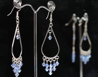 Light Sapphire Dangly Swarovski Earrings