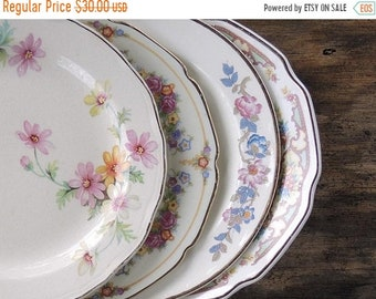 ON SALE Mismatched Vintage Bread and Butter Plates Set of 4 Dessert Plates Bridesmaid Luncheon Tea Party Plates