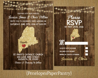 State of Maine Destination Wedding Invitations,Rustic,Gold Glitter Print,Strands of Lights,Red Heart,Opt RSVP,Customizable With Envelopes