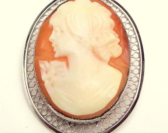 Carved Shell, Antique Cameo Pendent/Brooch, Sterling Silver Filigree, Hand Carved Conch Shell, Carved Cameo,Victorian Cameo Brooch/Pendent
