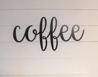 Coffee Sign, Metal Coffee Sign, Rustic Word Art Sign, Coffee Bar Decor, Coffee Gift