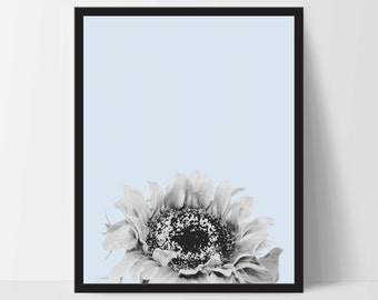 Blue Sunflower, Wall Art, Artwork, Home Decor, Modern Print, Print Art, Nature Art, Living Room, Digital Print, 12x16