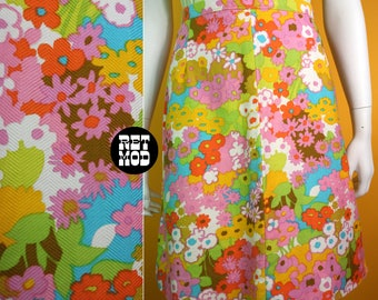 GROOVY Vintage 60s 70s Bright Flower Power A-Line Skirt