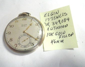 1939 Elgin 17 Jewel Pocket Watch Gold Filled Case Running 46mm