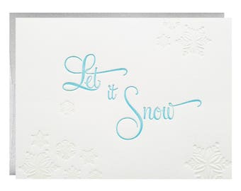 Let it Snow letterpress printed Holiday Cards - 5 pack