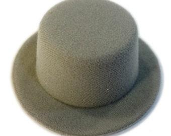 """5"""" Grey Mini Flocked Felt Top Hats"""
