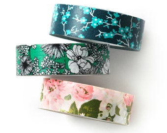 Washi tape 3 set - floral sketch - value pack - DIY - packaging - decorative tape - weddings - Love My Tapes