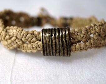 Rustic Men Bracelet, Beige Macrame Bracelet, Tribal Men Bracelet, Surfer Jewelry, Macrame Friendship Band