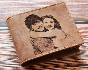 10 year anniversary gift, photo engraved wallet, personalized Wallet, 25th anniversary, engraved gifts, leather engraved gift, gift for men