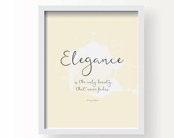 Elegance - Audrey Hepburn Quote Print, Fine Art, Wall Art Print, Poster Illustration, Art for Home, Office