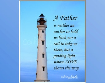 FATHER'S DAY Quote Father's Guiding Light Lighthouse Beach Photography Blue Sky Lighthouse Father's Day Gift Dad Wall Art