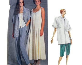 1987 Vogue American Designer 1856 Perry Ellis Misses' Jacket, Dress, Top, Pants and Shorts Sewing Pattern Size 8
