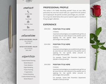 Resume template instant download Modern resume Cv template Professional resume creative Feminine resume templates word Curriculum vitae OW
