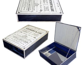 Stained Glass Keepsake Invitation Box In Navy Blue