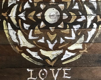 LOVE Mandala on Upcycled Wood