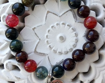 Natural stone beads bracelet with tree of life pendant
