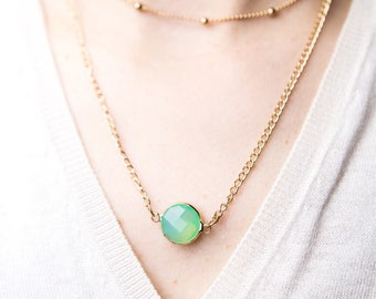 Double Layered Necklace - Beaded Chain Choker + Green Pendant