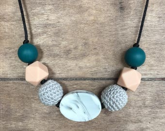 Silicone and Crochet Bead Necklace